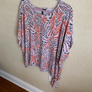 New Directions orange and blue blouse, 2xl